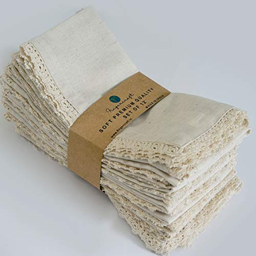 20X20 inch Oversized Dinner Napkins Premium Cotton Flax 12 Pack Natural Premium Quality Mitered Corners With Elegant Lace for Everyday Use Napkins are Pre Shrunk And Good Absorbency With Lace Ivory