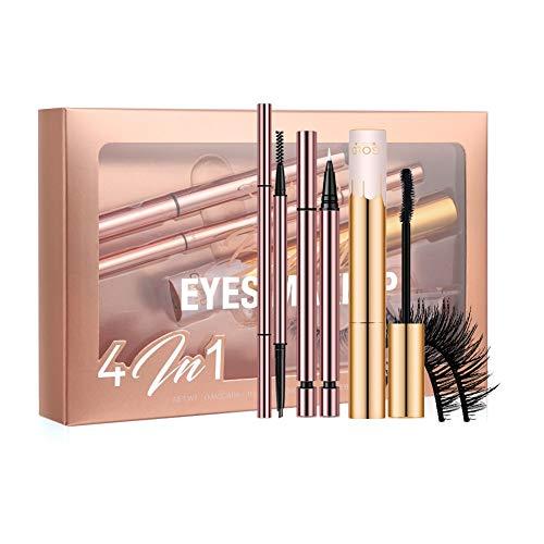 ARTIFUN 4 Pcs Ensemble de Maquillage pour les Yeux Crayon à Sourcils Liquide Eyeliner Volume Mascara Faux Cils Kit Cosmétique Kit de Maquillage Professionnel