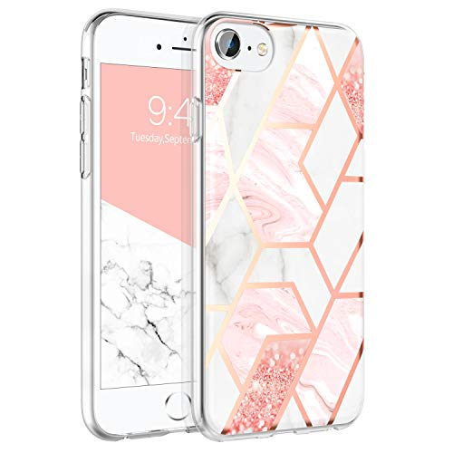 BENTOBEN Case for iPhone 6S/ iPhone 6, Slim Hybrid Cute Shiny Pink White Marble Design Back Cover Clear Soft Rubber Bumper Sleek Girls Women Shockproof Protective Phone Case for iPhone 6 & 6S