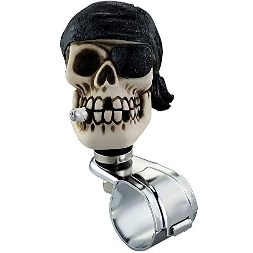 Lunsom Skull Shape Steering Wheel Spinner One Eye Driving Power Handle Control Grip Booster Suicide Knob Car Turning Aid Helper Fit Most Vehicle (Black)