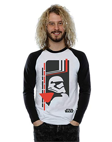 Star Wars Homme The Force Awakens Captain Phasma Icon Manches longues Baseball Shirt Large Blanc noir