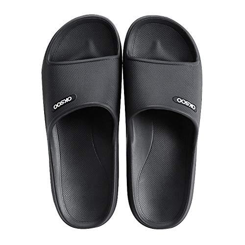 Coral Vaughan Zapatillas de Estar en casa Hombre Marvel,Baño de Verano hogar hogar Hombres Fondo Suave Extra Grande Fondo Grueso Sandalias y Zapatillas de verano-42-43_Negro