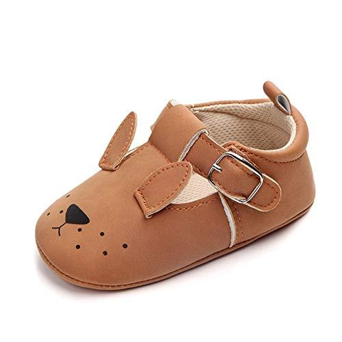 XYAN Babyschuhe 0-1 Jahre Jungen-Mädchen-weiche Sohle-Schuh-Leder-Muster-Tier Schöne Laufen Lernen (Farbe : Brown Rabbit, Size : 13cm)
