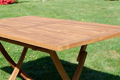ASS ECHT Teak Holz Klapptisch Holztisch Gartentisch Tisch in verschiedenen Größen von Größe:140x80 cm - 3