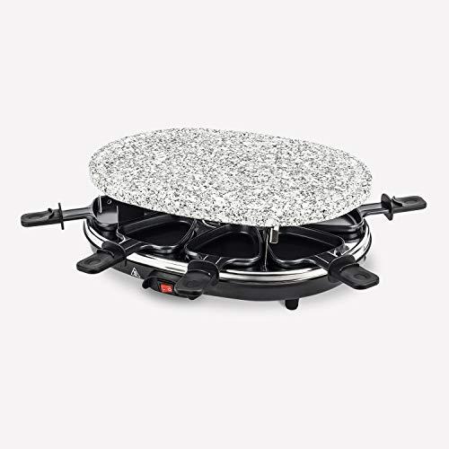 Raclette-Grill mit Naturstein, (900 Watt, 8 Pfännchen antihaftbeschichtet mit wärmeisolierten Griffen), Tischgrill für 8 Personen,Schwarz