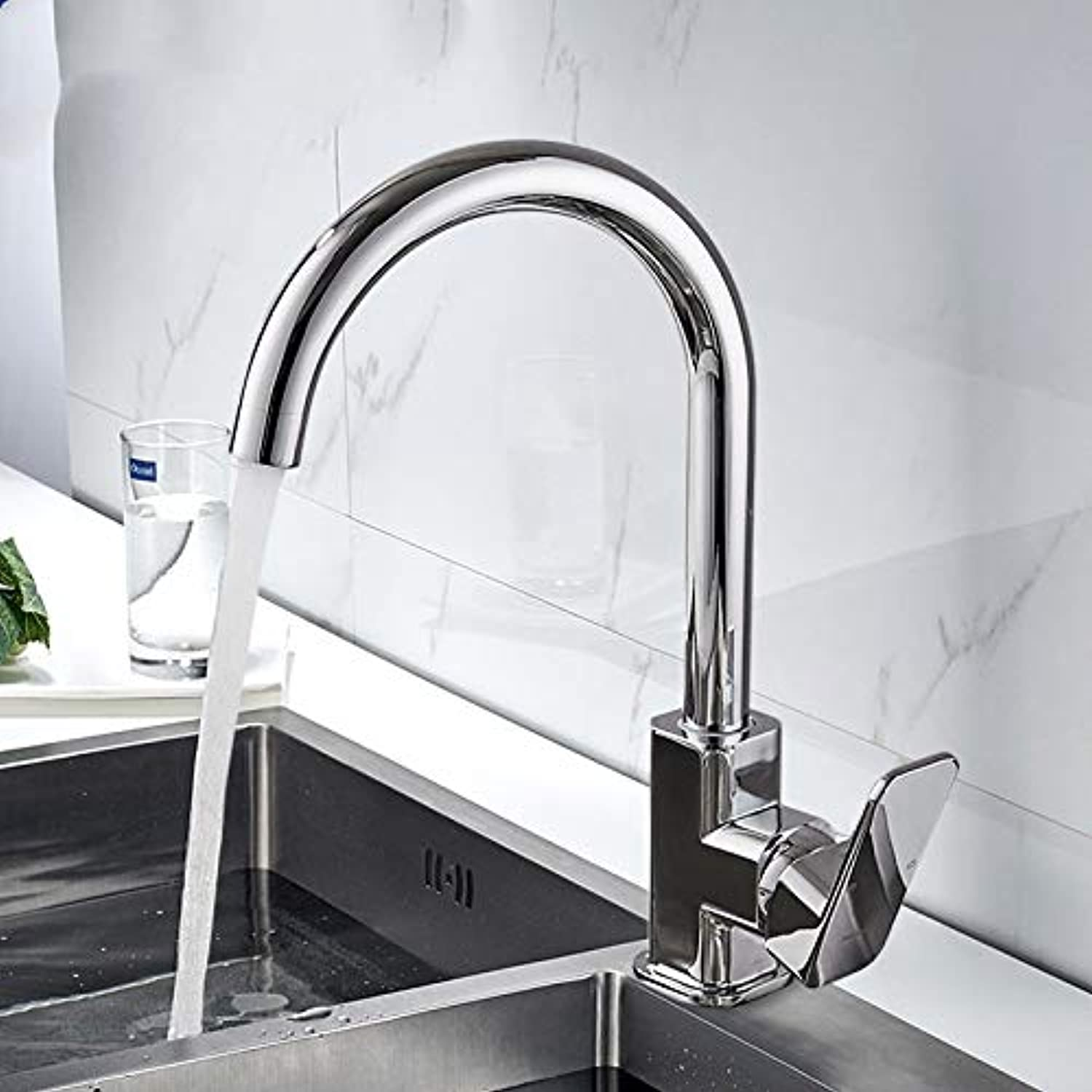 Kitchen Faucet 360 Degree redating Ruler Shape Curved Outlet Pipe Faucet Water Heating Basin Hardware Brass Sink Faucet
