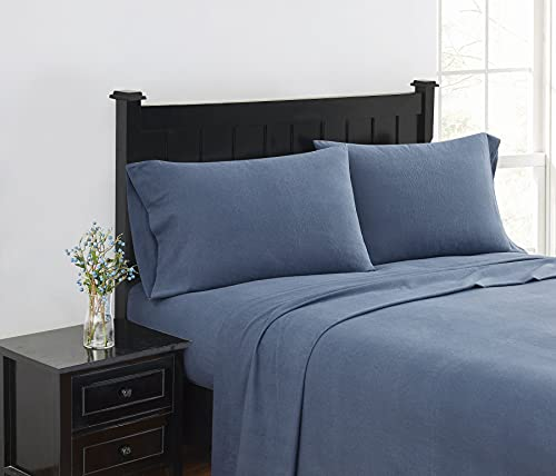 London Fog - King 4 Piece Sheet + Pillowcase Set - Solid Flannel Collection, 100% Cotton - Grey