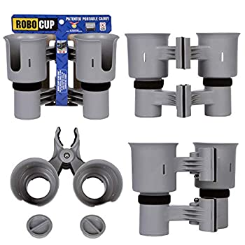 ROBOCUP Gray Best Cup Holder for Drinks Fishing Rod/Pole Boat Beach Chair/Golf Cart/Wheelchair/Walker/Drum Sticks/Microphone Stand