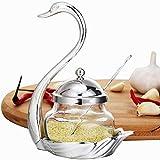 vertice Cuencos de Almacenamiento para el Hogar Tarro de Condimento en Forma de Cisne con Tapa Y Cuchara Decoración en Forma de Cisne Tarro de Mermelada Y Mostaza Soporte para Recipiente de Condiment