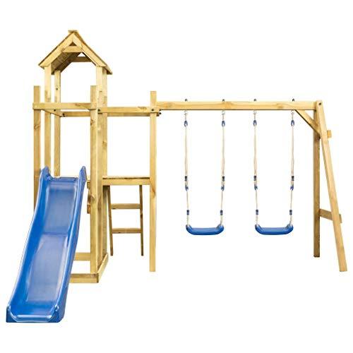 Festnight Giochi Esterno Bambini da Giardino Casa Giochi con Scivolo Altalena Scala 285x305x226,5 cm Altalena da Giardino in Legno