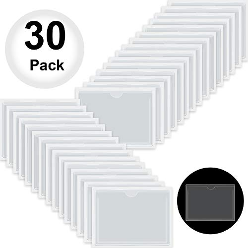 Self-Adhesive Business Card Pockets with Top Open for Loading, Card Holder for Organizing and Protecting Your Cards or Photos, Crystal Clear Plastic (3.6 x 5.25 Inches, 30 Packs)