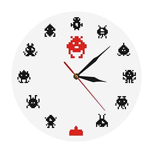 Wanduhr Digital Retro Spiel Space Alien Invader Kinderzimmer Wanduhr Pixel Art Invader Monster Arcade-Spiele Moderne Wanduhr Spielzimmer Wandkunst Geeignet für Wohnzimmer Schlafzimmer