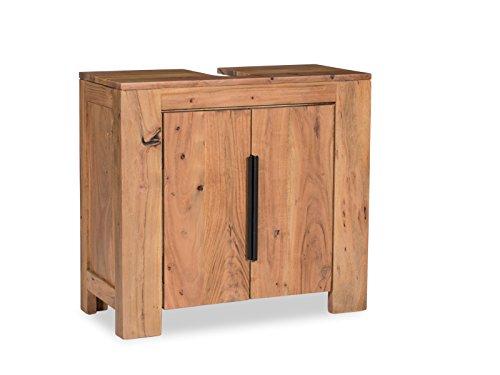 Woodkings® Waschbeckenunterschrank Auckland Echtholz Akazie Waschtischunterschrank massiv Badmöbel Badezimmer Badezimmerschrank Badschrank Bad Unterschrank Massivholz