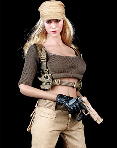 ZSMD 1/6 Scale Female Figure Doll Clothes, Handmade Battle Suit, Cloth, Cap & Gun Holster Outfit for 12