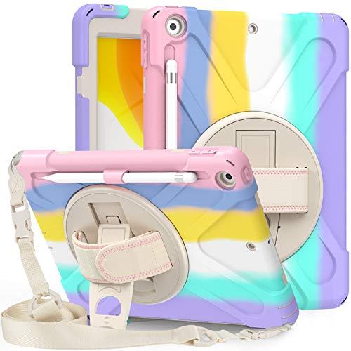 BlinkCat iPad Funda para iPad 7th Gen. / iPad 10.2 2019 Resistente3 Capa Híbrido Protectora Cubierta con Incorporado Kickstand / Correa para el Hombro+Correa de Mano / Portalápices - Light Rainbow