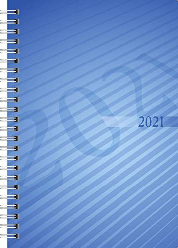 rido/idé 7021102301 Buchkalender futura 2, 2 Seiten = 1 Woche, 148 x 208 mm, PP-Einband blau, Kalendarium 2021, Wire-O-Bindung
