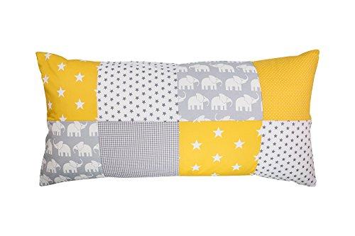 Funda patchwork para cojín de ULLENBOOM ® con elefantes amarillo (funda para cojín de 40x80 cm; 100% algodón; ideal como cojín decorativo o de adorno para la habitación de los niños)