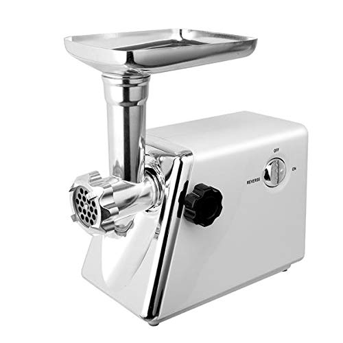 Electric Meat Grinder Stainless Steel Sausage Stuffer Food Processor Grinding Mincing Machine, Food Grinder Stand Mixers, Heavy Duty Mincer Sausage Maker with Handle for Home Kitchen (White)