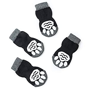 Pet Heroic 8 Sizes Anti-Slip Dog Socks Cat Socks Dog Cat Paw Protector with Rubber Reinforcement, Traction Control for Indoor Wear, Fit Extra Small to Extra Large Dogs Cats