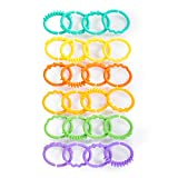 Bright Starts Lots of Links Rings Toys - for Stroller or Carrier Seat - BPA-Free 24 Pcs, Ages 0 Months +