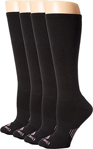 Dan Post Cowgirl Certified DP Lites Over the Calf Socks 4-Pack Black 9 (Women's Shoe 7-9.5)