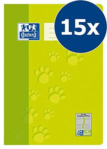 Oxford Schule Schulheft A4, liniert, Lineatur 1, 16 Blatt, hellgrün, 15er Pack