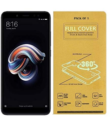 Blue Blood® 360° Buff Guard [Front + Back + Camera Lens] [Not Tempered Glass] Full Body Coverege Screen Protector for Xiaomi Redmi Note 5 − List 1243