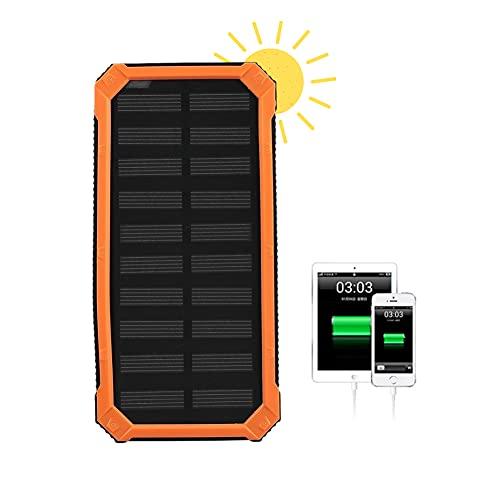 Banco de energía solar, kit de bricolaje de cargador solar portátil al aire libre portátil a prueba de agua de 20000 mAh, puertos USB duales, carga rápida, para teléfonos celulares, tabletas(naranja)