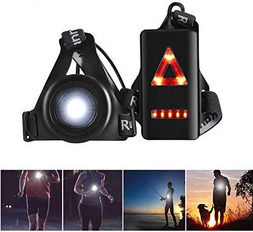 Qweidown Running Light Outdoor,Luce sul toraceTorcia a LED Ricaricabile USB con fanale Posteriore 3 modalità di Illuminazione Attrezzatura Notturna Regolabile per corridoriSport all'Aperta