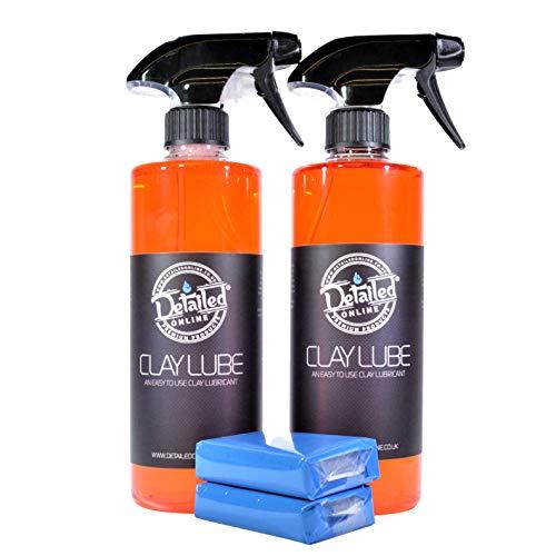 DetailedOnline 2 Clay Bars + 2x 500ml Strawberry Clay Lube Kit Car...