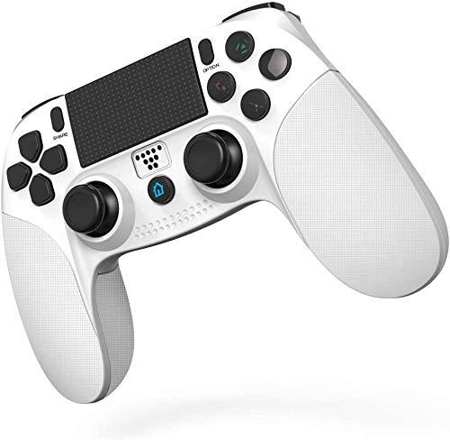 JOYSKY Wireless Controller für PS4,Bluetooth Gamepad mit Dual-Vibration Rechargable Remote sechsachsigem Dual Vibration Shock und Audio-Buchse Controller (Weiß)