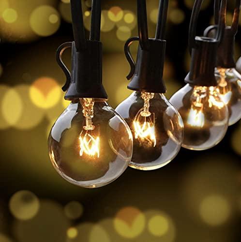 Lichterkette Außen, FOCHEA Lichterkette Glühbirnen G40 9.5m Globe Birnen Lichterkette Garten für Weihnachten Hochzeit Party Aussen Dekoration Warmweiß
