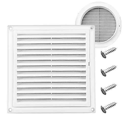 Funmit La cubierta de ventilación con persiana de 6 pulgadas detiene la anidación de los pájaros para la cubierta exterior del aire de escape del secador (blanco)