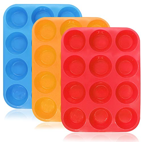 YuCool 12-Cup Muffin de Silicona y Cupcake Baking Pan, 3 Pack Moldes de Silicona para Muffin Tins, Tortas, BPA Free Non-Stick Microondas Safe (Naranja, Rojo, Azul)