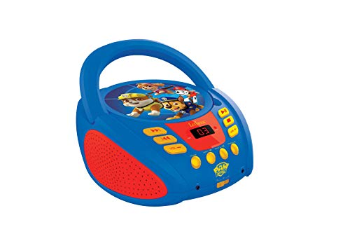 Lexibook Paw Patrol La Pat Patrouille Lecteur CD portable pour Enfants, Prise micro, Entrée line-in, Pile ou Secteur, Bleu/Rouge, RCD108PA