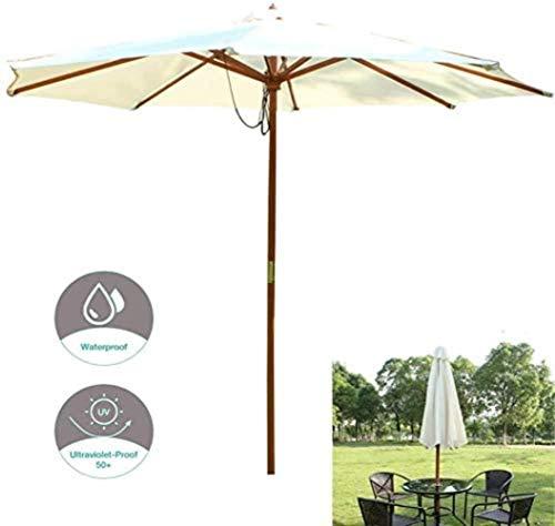 Ø270cm Jardin Parasol, Extérieur Pare-soleil, Crème Solaire Et Anti-pluie Ceinture À Manivelle, For L'extérieur Terrasse De Jardin En Bois (Color : Off-white)