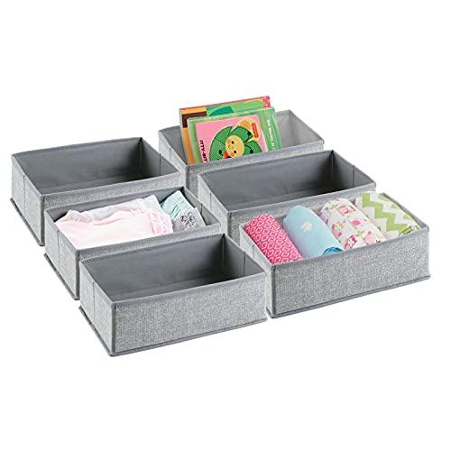MDesign Organizador Para Armarios (Juego De 6) – Cajas De Plástico Para Ropa, Cosméticos, Pañales, Pañuelos, Lociones O Medicamentos – Separador De Cajones De Color Gris