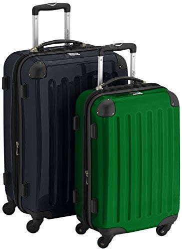 HAUPTSTADTKOFFER - Alex - 2er Koffer-Set Hartschale glänzend, 65 cm + 55 cm, 74 Liter + 42 Liter, Schwarz-Gruen
