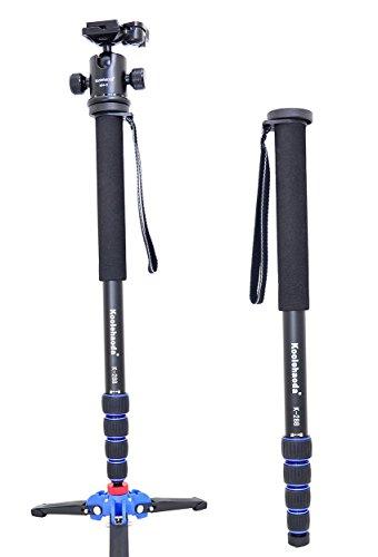 Koolehaoda Professional Camera Aluminium Monopod & Ballhead with Folding Three Feet Support Stand for DSLR Camera .Max Height :177cm / 69.7 inch.