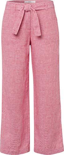 BRAX Damen Style Maine S Linen Leinenhose Verkürzt Mit Bindegürtel Hose, Summer RED, W34/L32(Herstellergröße: 44)