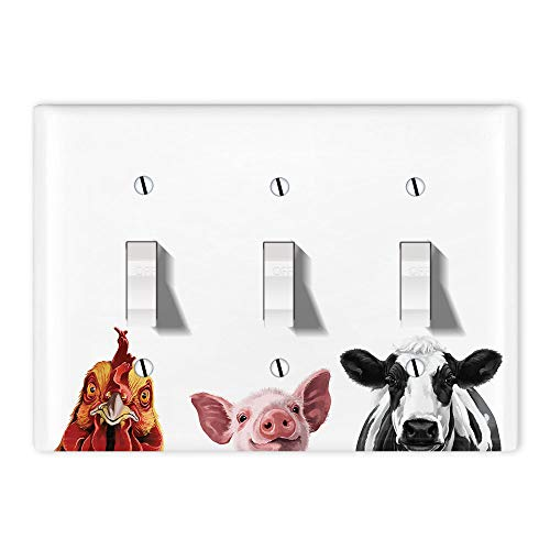 WIRESTER 3-Gang Toggle Light Switch Plate/Wall Plate Cover - Cochin Chicken Baby Pig Cow