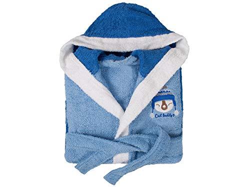 Dolz - Albornoz Infantil Rizo Buddy Azul - con Capucha - 14/16 años - 100% Algodón