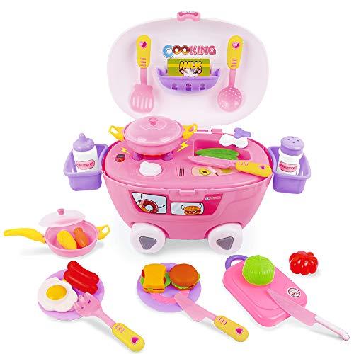 BeebeeRun 32PCS Alimentos Juguetes,Juguete de Cocina Infantil con Sonidos y Luces,Educativos Juguetes niños 3+ años niños niñas
