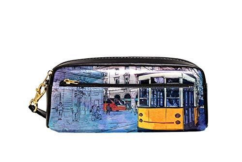 Bennigiry Rue Europäische Aquarellfarben alte Tramway Astuccio per matte di große Kapazität borsa per bamini, Studentum, Borsa per penne, per scuola di viaggio, Piccola Borsa Cosmetica