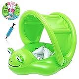 AugSep Baby Pool Float, aufblasbarer Frosch Baby Schwimmring mit abnehmbarem Baldachin und Sicherheitsunterseite für Alter von 6-24 Monaten AG-UK-A202112726
