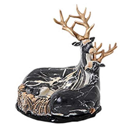 outingStarcase Ciervos decoración del hogar Oficina Nórdica Cenicero Gran salón Personalidad cenicero de Regalo Negro 18cm (Color: Negro, tamaño: 18 * 18 * 18.5CM) para la decoración de la Oficina en