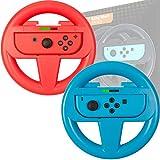 Orzly Pack DE Dos Volantes Usar con los Joy-con Switch – Pack de Volante Rojo Y Azul [con luz indicando Jugador] para Usar con los mandos Joy-con de la Nintendo Switch