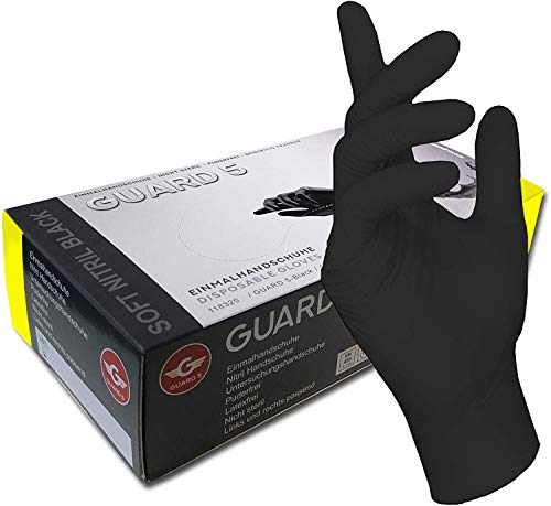 GUARD 5 100 Stck - Einweghandschuhe schwarze Nitril-Handschuhe puderfreie Tätowierhandschuhe Kochhandschuhe (9 / L)