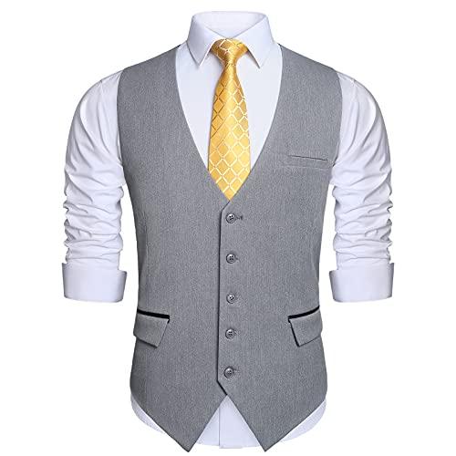 HISDERN Grau Anzugwesten für Herren Hochzeit Weste Anzugweste formal Businessweste Casual Westen Smoking Vest