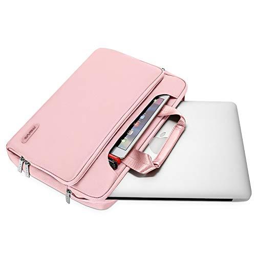 MOSISO Laptop Hülle Tasche Kompatibel mit MacBook Pro 16 Zoll, 15 15,4 15,6 Zoll Dell Lenovo HP Asus Acer Samsung Chromebook,360 Schutz Wasserabweisende Schultertasche mit Trolley Gürtel, Rosa